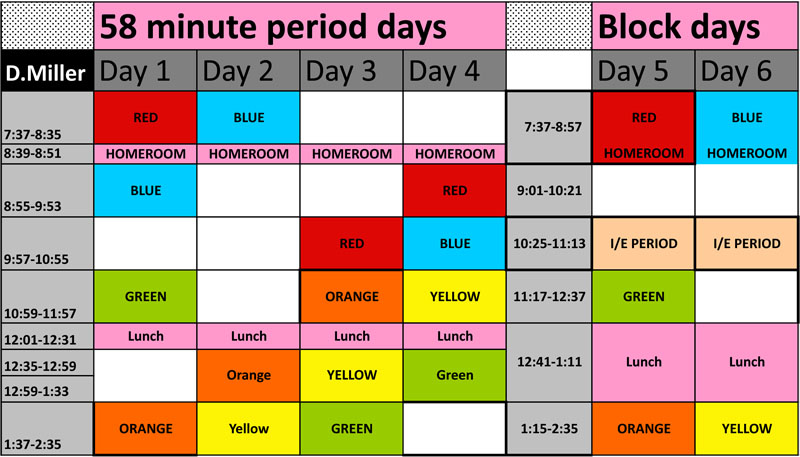 schedule for 6 day cycle